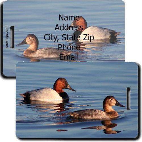 CANVASBACK DUCK PERSONALIZED LUGGAGE TAG