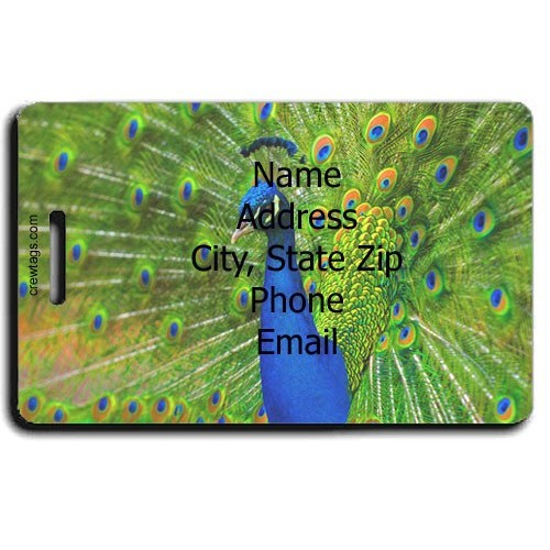 PEACOCK PERSONALIZED LUGGAGE TAG