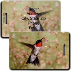 RUBY THROAT PERSONALIZED HUMMINGBIRD LUGGAGE TAG