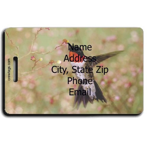 RUBY THROAT HUMMINGBIRD PERSONALIZED LUGGAGE TAG