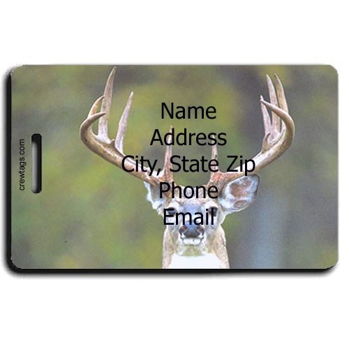 WHITE TAIL DEER PERSONALIZED LUGGAGE TAG