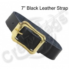 BLACK LEATHER LUGGAGE STRAP - 7""