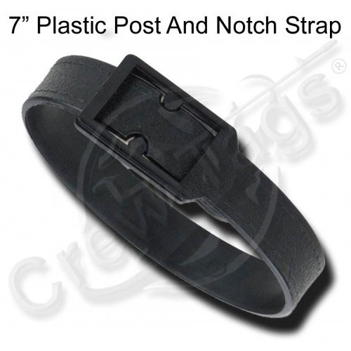 Black Plastic Post and Notch Strap (7-Inch) Luggage Tag Attachment