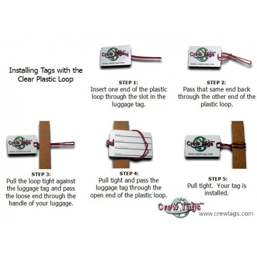 CLEAR PLATIC LOOP LUGGAGE TAG INSTRUCTIONS