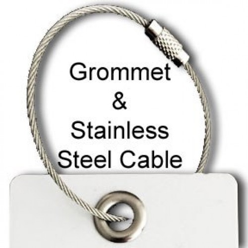 Stainless Steel Aircraft Cable and Grommet Luggage Tag Attachment