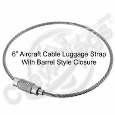 "6"" Stainless Steel Aircraft Cable Luggage Strap with Barrel Style Closure"