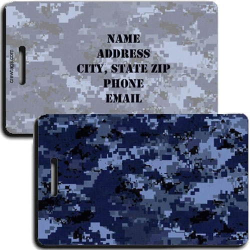 DIGITAL CAMOUFLAGE LUGGAGE TAG - BLUE