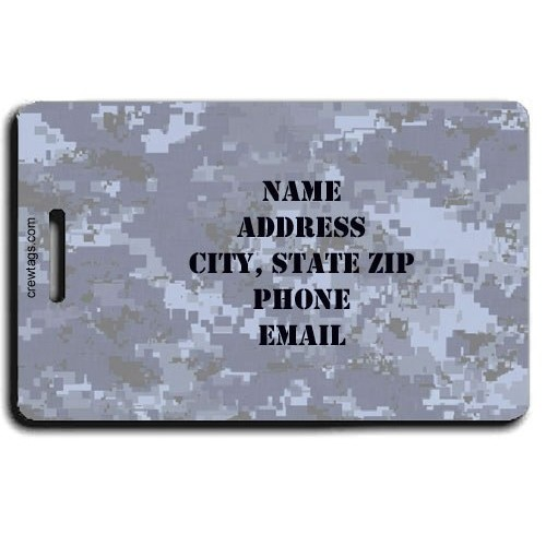 DIGITAL CAMOUFLAGE PERSONALIZED LUGGAGE TAG - BLUE