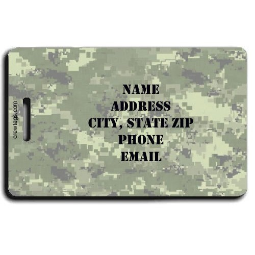 DIGITAL CAMOUFLAGE CUSTOM LUGGAGE TAG - GREEN