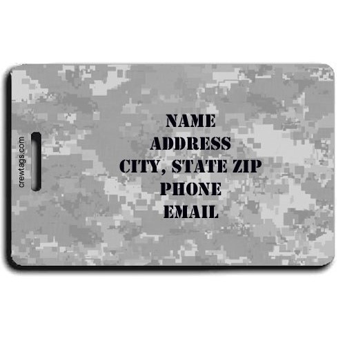 DIGITAL CAMOUFLAGE LUGGAGE TAGS - GRAY