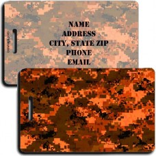 DIGITAL CAMOUFLAGE LUGGAGE TAG - ORANGE