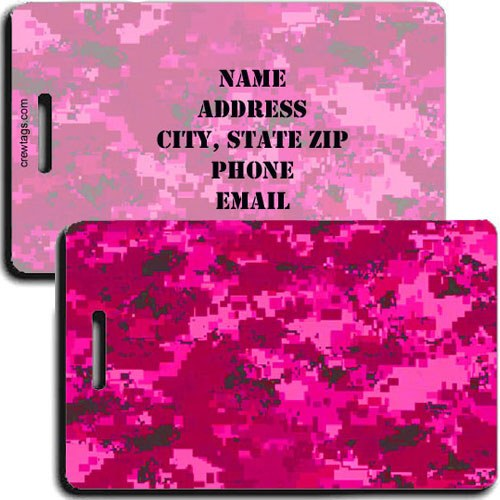 DIGITAL CAMOUFLAGE LUGGAGE TAGS - PINK