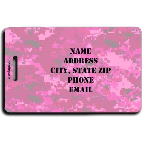 DIGITAL CAMOUFLAGE PERSONALIZED LUGGAGE TAG - PINK