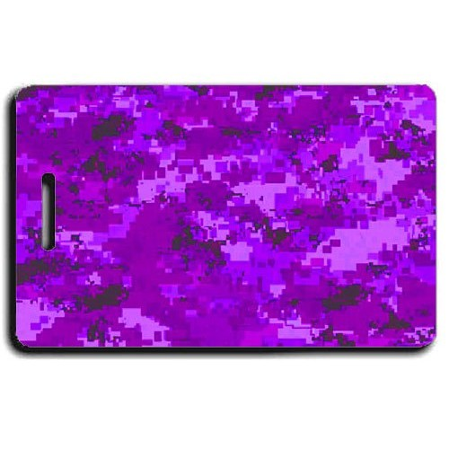 DIGITAL CAMOUFLAGE PERSONALIZED LUGGAGE TAG - PURPLE
