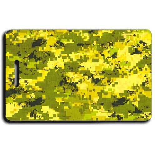 DIGITAL CAMOUFLAGE PERSONALIZED LUGGAGE TAG - YELLOW