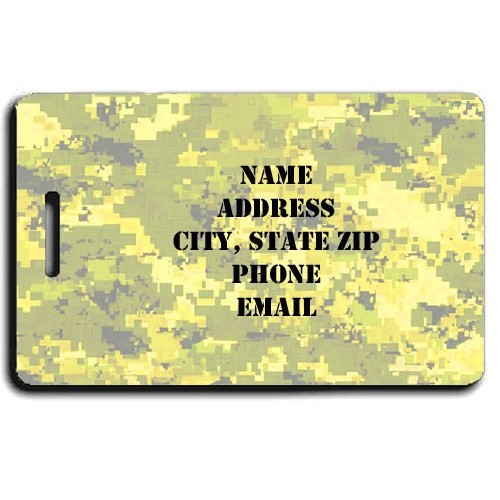 DiGITAL CAMOUFLAGE LUGGAGE TAG -  YELLOW