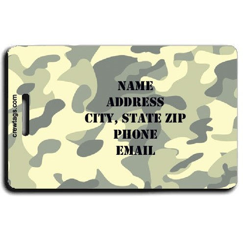 CAMOUFLAGE PERSONALIZED LUGGAGE TAGS - GREEN