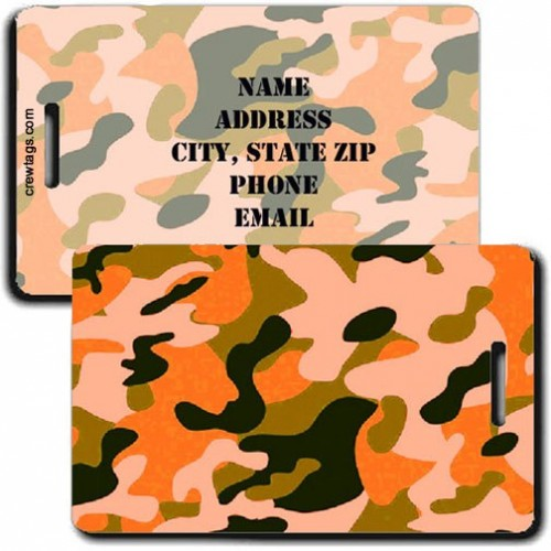 CAMOUFLAGE LUGGAGE TAG - ORANGE