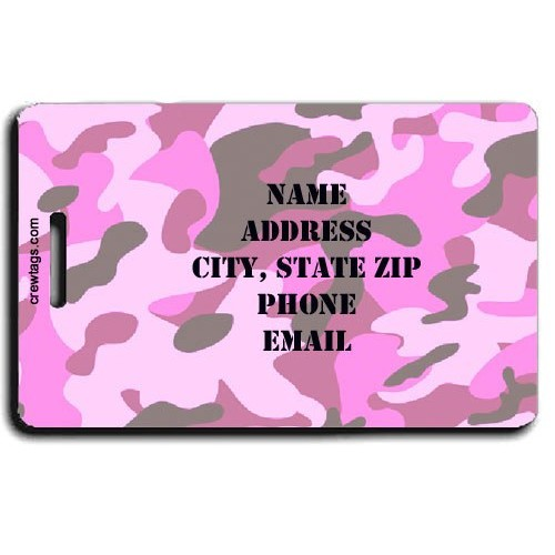 CAMOUFLAGE PERSONALIZED LUGGAGE TAGS - PINK