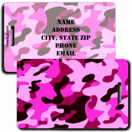 CAMOUFLAGE LUGGAGE TAGS - PINK