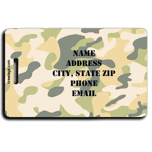 CAMOUFLAGE PERSONALIZED LUGGAGE TAGS - YELLOW