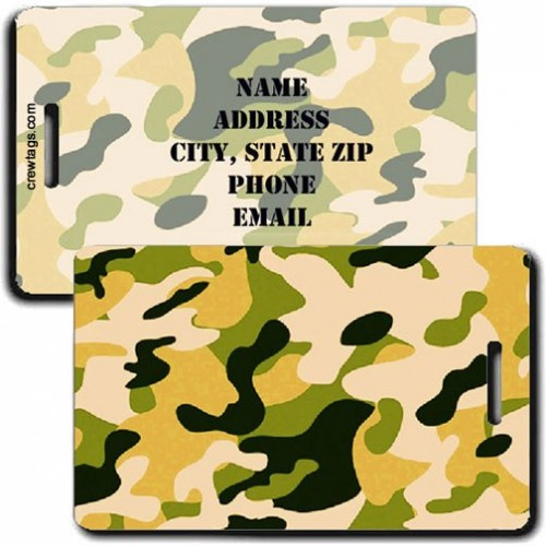 CAMOUFLAGE LUGGAGE TAGS - YELLOW