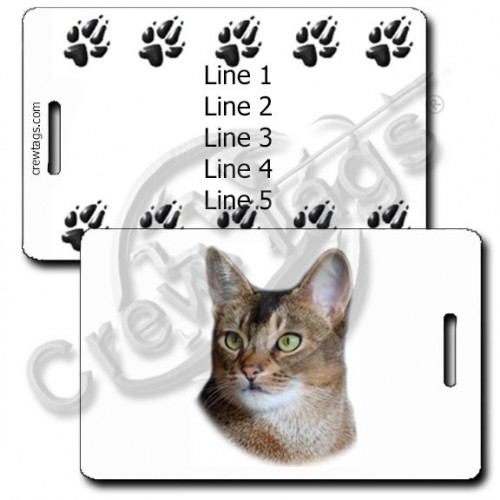 ABYSSINIAN CAT LUGGAGE TAGS WITH PAW PRINT BACK