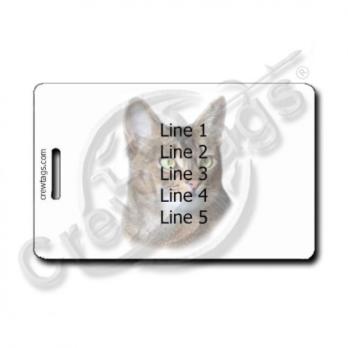 ABYSSINIAN CAT LUGGAGE TAG WITH PERSONALIZED TEXT