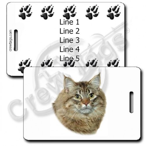 AMERICAN BOBTAIL CAT PERSONALIZED LUGGAGE TAGS WITH PAW PRINT BACK
