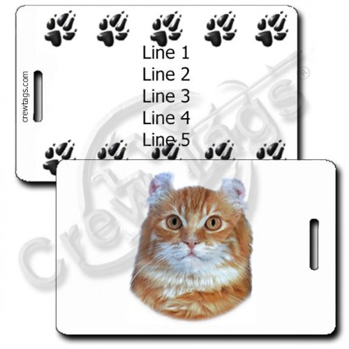 AMERICAN CURL CAT LUGGAGE TAGS WITH PERSONALIZED PAW PRINT BACK