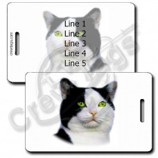 PERSONALIZED BLACK AND WHITE AMERICAN SHORTHAIR CAT LUGGAGE TAGS