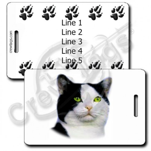 PERSONALIZED BLACK AND WHITE AMERICAN SHORTHAIR CAT LUGGAGE TAGS WITH PAW PRINT BACK
