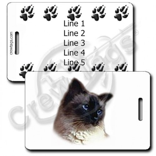 PERSONALIZED BALINESE CAT LUGGAGE TAGS WITH PAW PRINT BACK