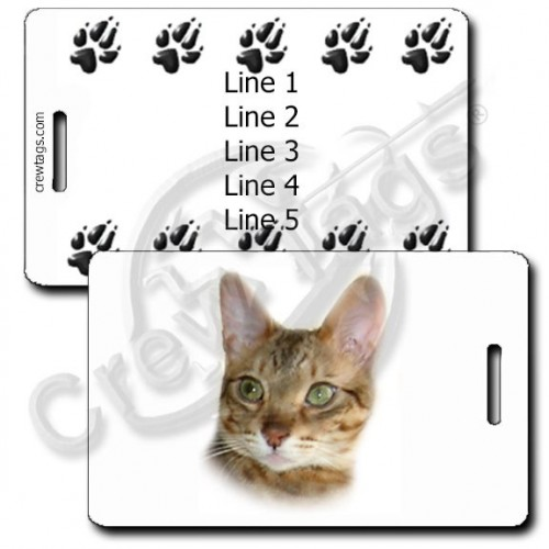 PERSONALIZED BENGAL CAT LUGGAGE TAGS WITH PAW PRINT BACK