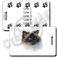 BIRMAN CAT LUGGAGE TAGS WITH PAW PRINT BACK