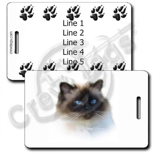 PERSONALIZED BIRMAN CAT LUGGAGE TAGS WITH PAW PRINT BACK
