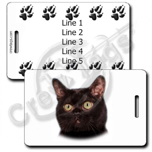 PERSONALIZED BOMBAY CAT LUGGAGE TAGS WITH PAW PRINT BACK