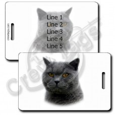PERSONALIZED BRITISH SHORTHAIR CAT LUGGAGE TAGS