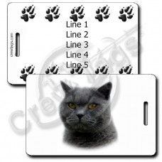 BRITISH SHORTHAIR CAT LUGGAGE TAGS WITH PAW PRINT BACK