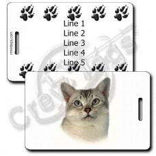 BURMILLA CAT LUGGAGE TAGS WITH PAW PRINT BACK