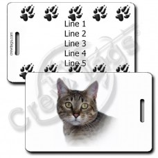 CALIFORNIA SPANGLED CAT LUGGAGE TAGS WITH PAW PRINT BACK