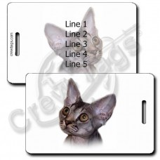 PERSONALIZED DEVON REX CAT LUGGAGE TAGS