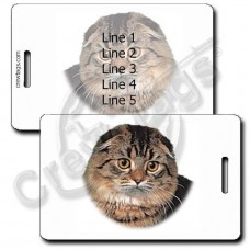 PERSONALIZED HIGHLAND FOLD CAT LUGGAGE TAGS