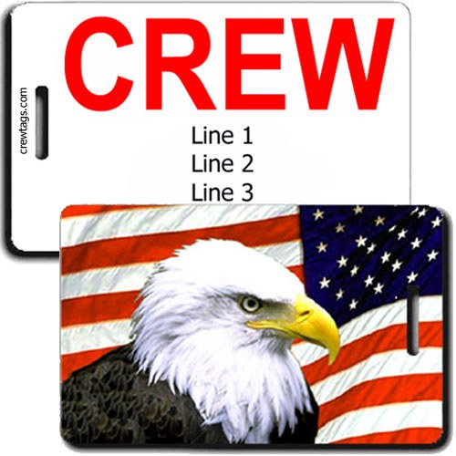 AMERICAN FLAG AND EAGLE PERSONALIZED CREW TAGS