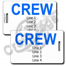 CREW TAGS WITH BLUE CREW ON BOTH SIDES