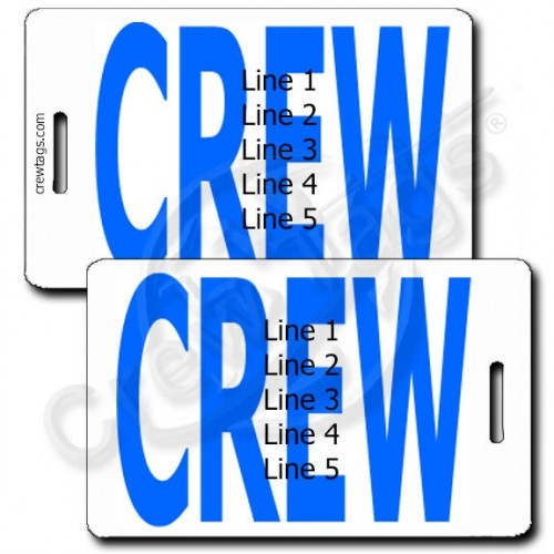 PERSONALIZED BOLD BLUE CREW TAGS