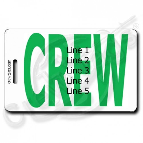 BOLD GREEN PERSONALIZED CREW TAGS