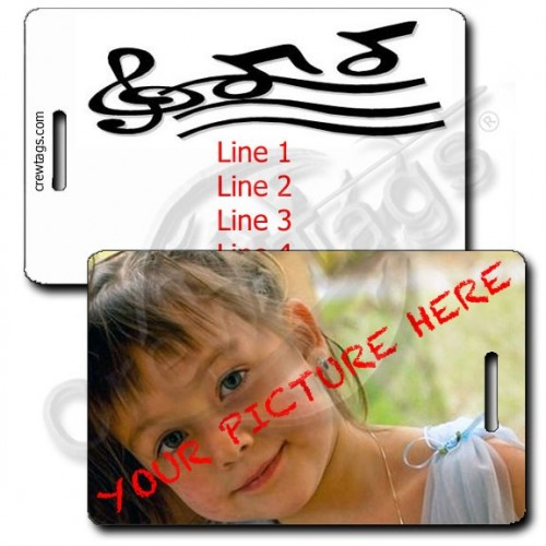CUSTOM PHOTO MUSIC NOTES PERSONALIZED LUGGAGE TAG