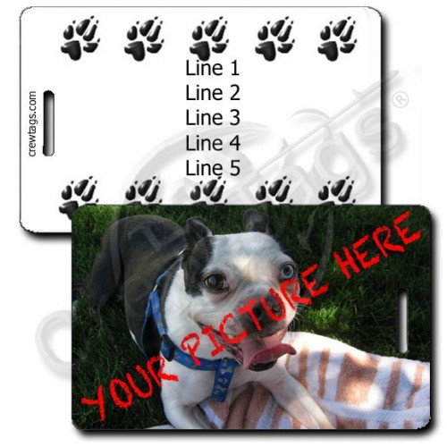 CUSTOM PHOTO PAW PRINTS PERSONALIZED LUGGAGE TAG