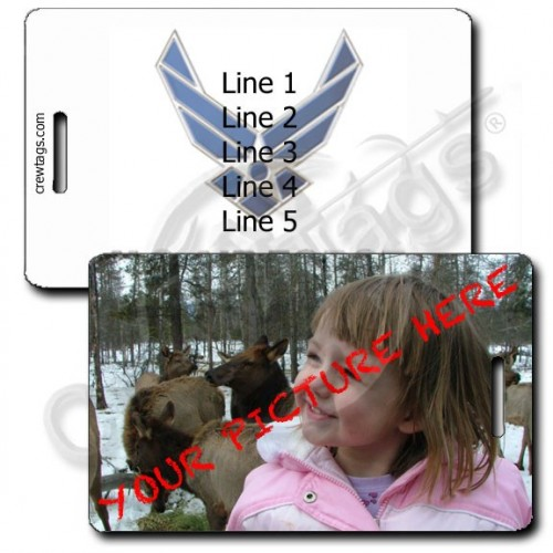 CUSTOM PHOTO AIR FORCE LOGO PERSONALIZED LUGGAGE TAG